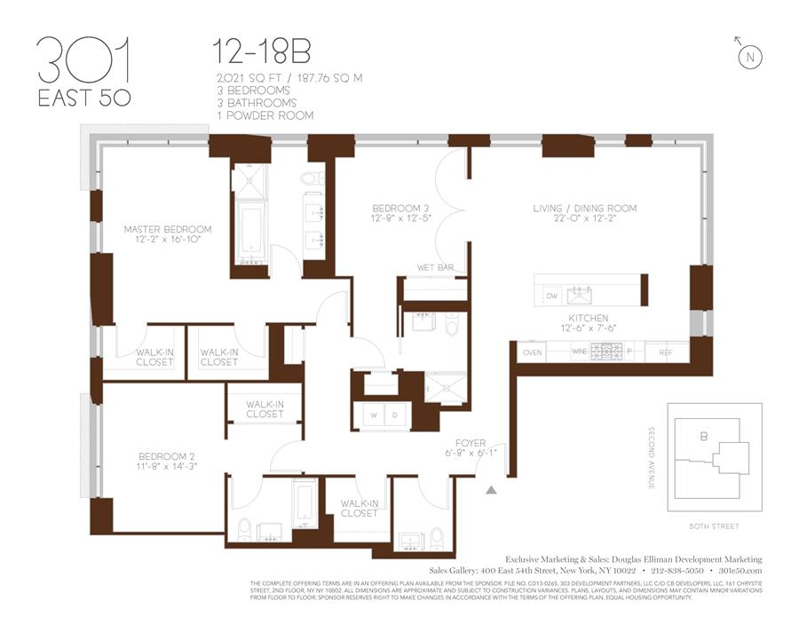 Floor plan of 301 East 50th St, 16B - Turtle Bay, New York