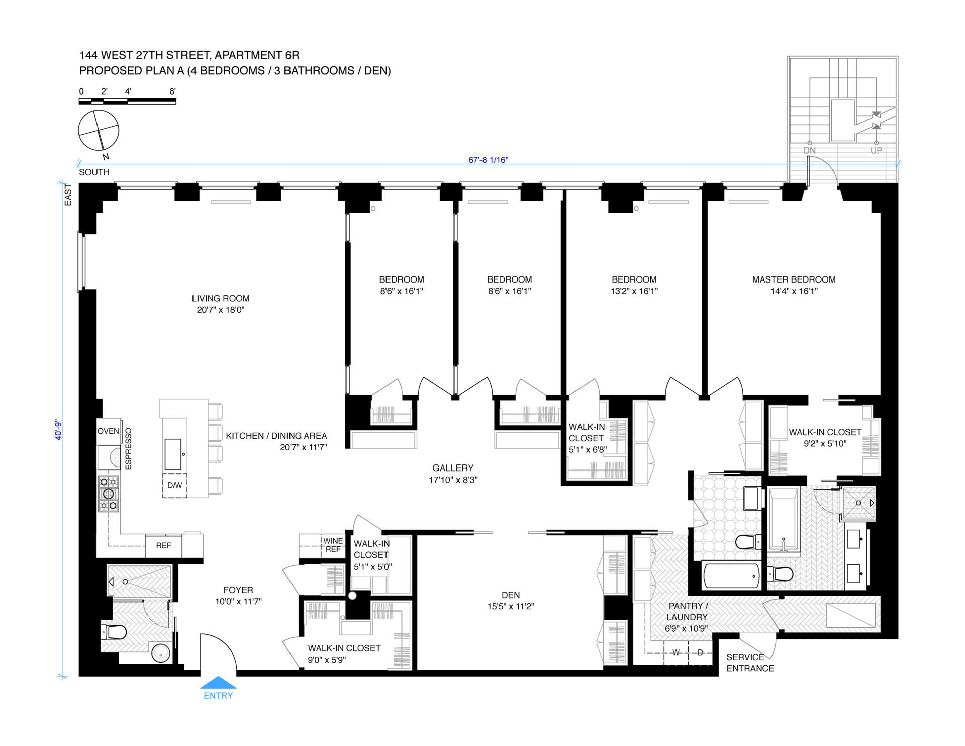 Floor plan of 144 West 27th St, 6R - Chelsea, New York