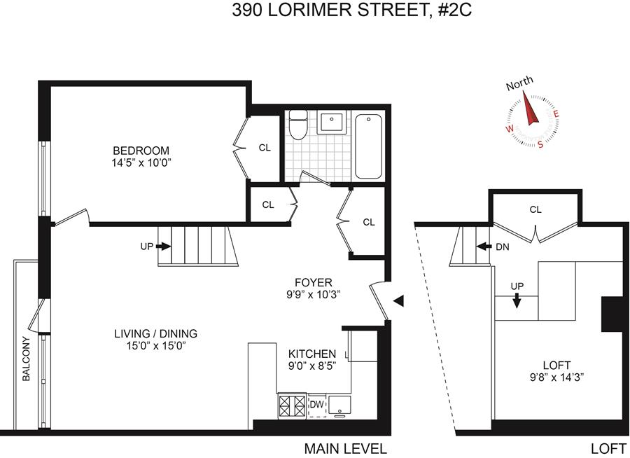 Floor plan of ID390, 390 Lorimer St, 2C - Williamsburg, New York