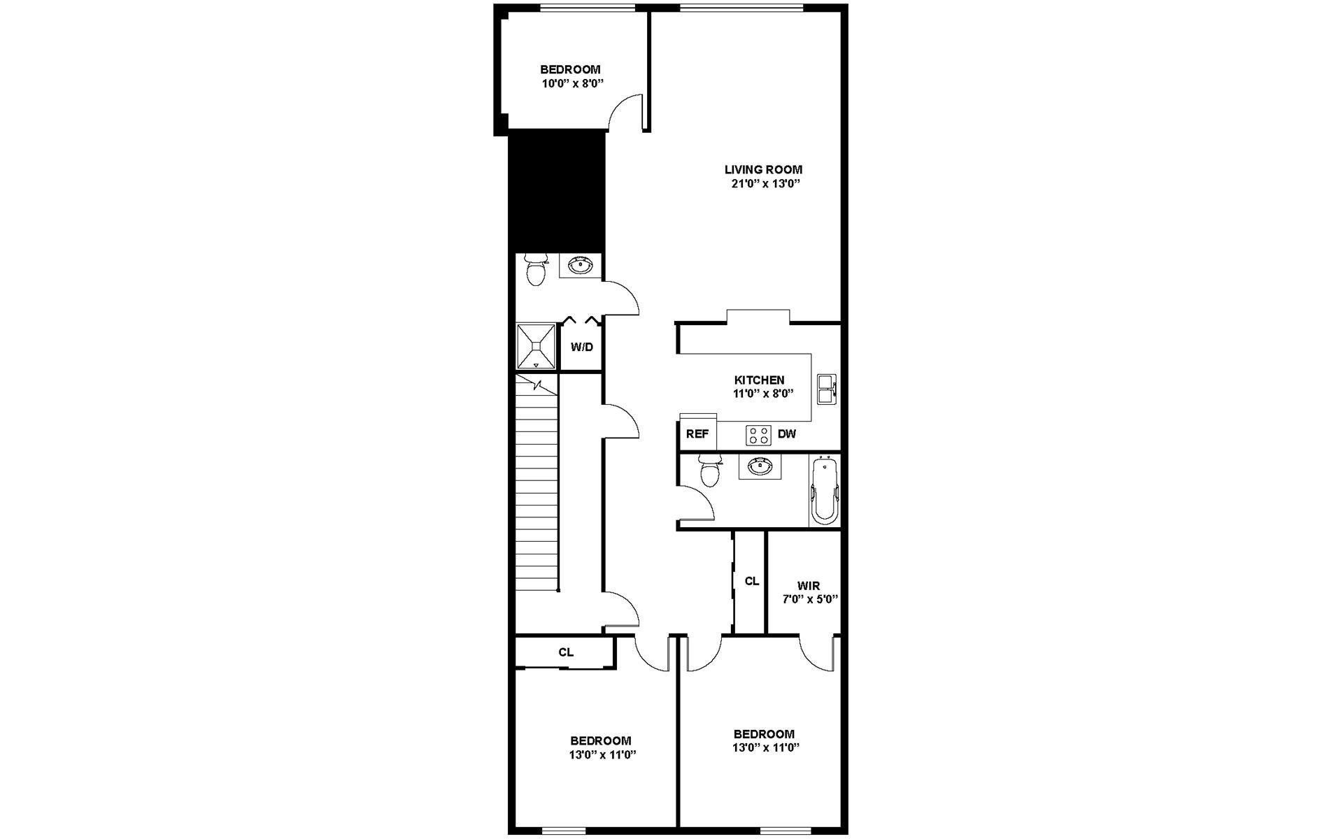 Floor plan of 32 Orchard St - Lower East Side, New York