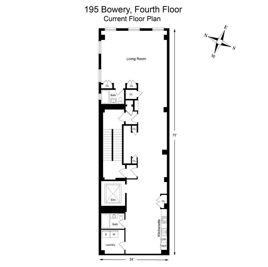 Floor plan of 195 Bowery, 3/4 - SoHo - Nolita, New York