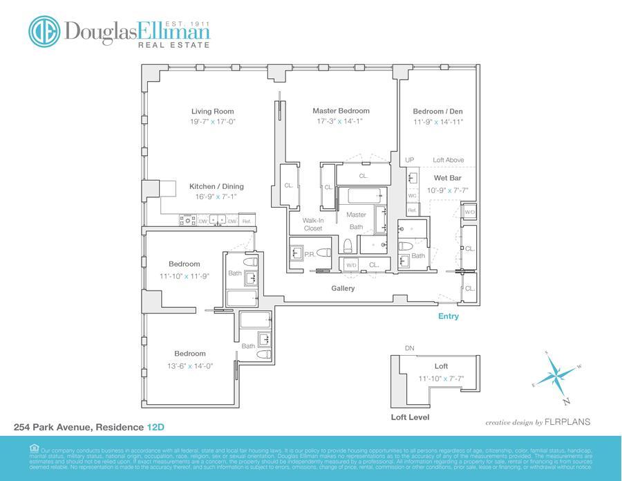 Floor plan of 254 Park Avenue South, 12DG - Flatiron District, New York