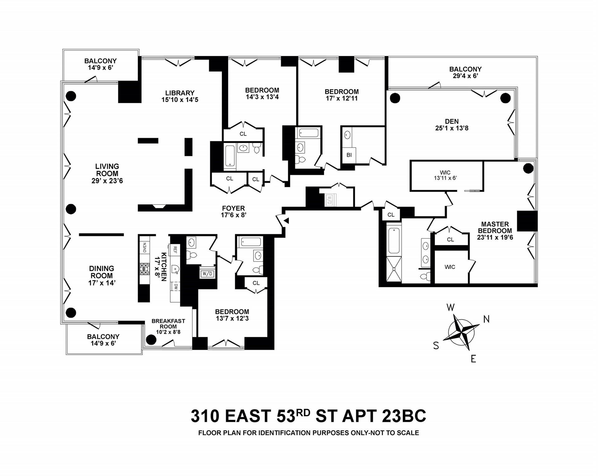 Floor plan of The Three Ten, 310 East 53rd St, 23BC - Sutton Area, New York