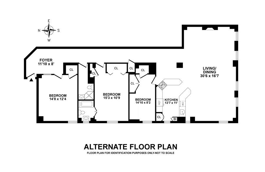 Floor plan of 131 Riverside Apts Corp, 131 Riverside Drive, 3D - Upper West Side, New York