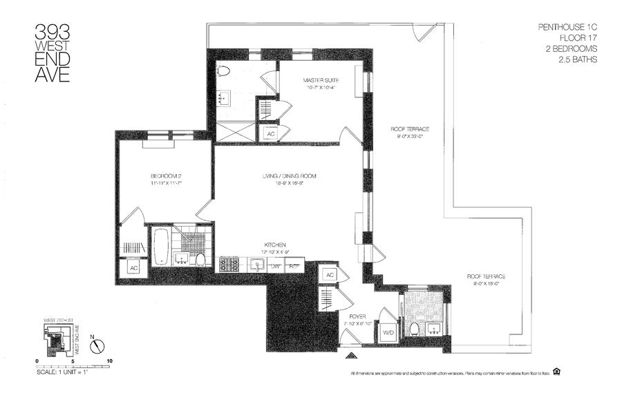 Floor plan of 393 West End Avenue, P1C - Upper West Side, New York