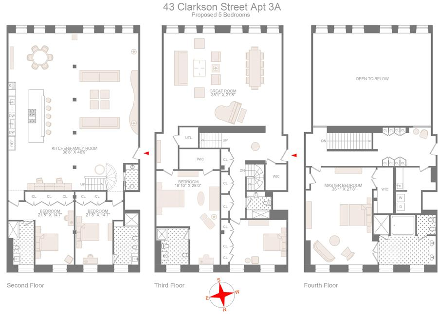 Floor plan of 43 Clarkson St, 3A - West Village - Meatpacking District, New York