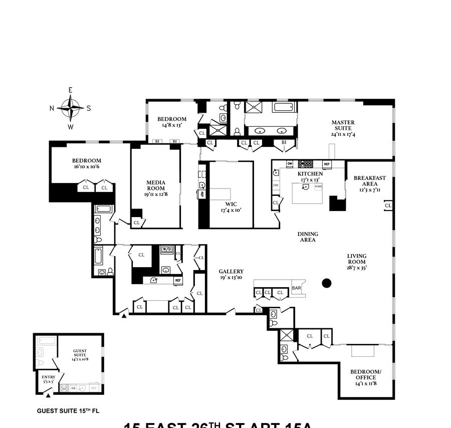 Floor plan of Fifteen Madison Square North, 15 East 26th St, 15A - Flatiron District, New York