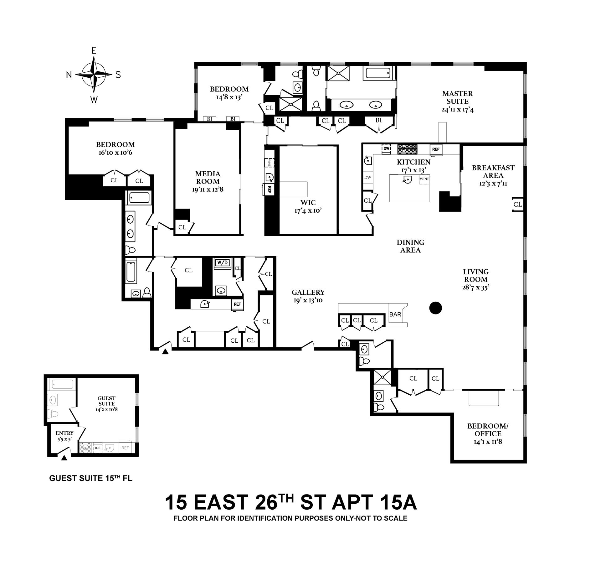 Floor plan of Fifteen Madison Square North, 15 East 26th St, 15AB - Flatiron District, New York
