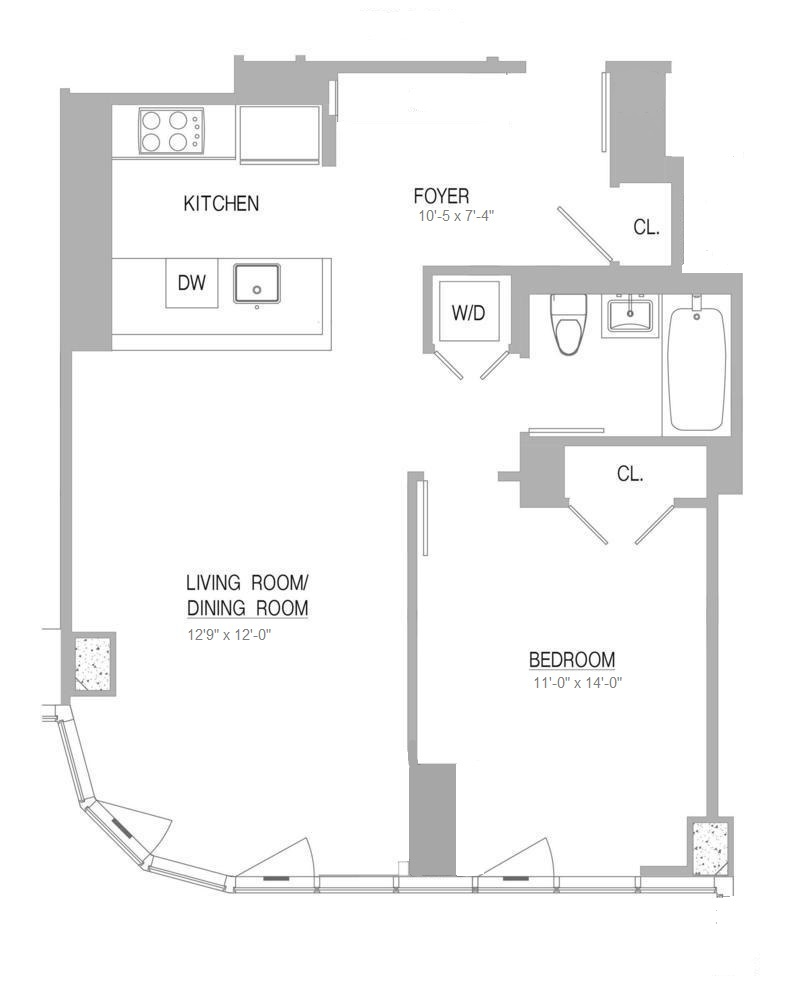 Floor plan of 555 West 59th St, 17C - Lincoln Square, New York