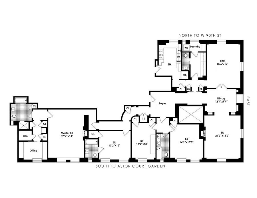 Floor plan of ASTOR COURT, 210 West 90th St, 8AA - Upper West Side, New York