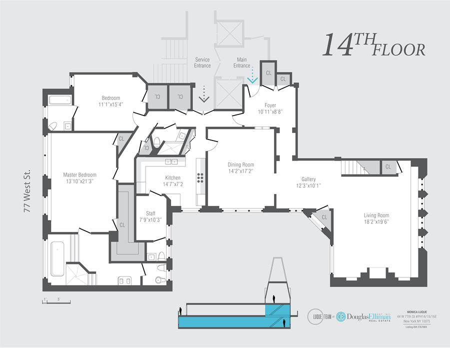 Floor plan of 44 West 77th St, PH14/15/16 - Upper West Side, New York