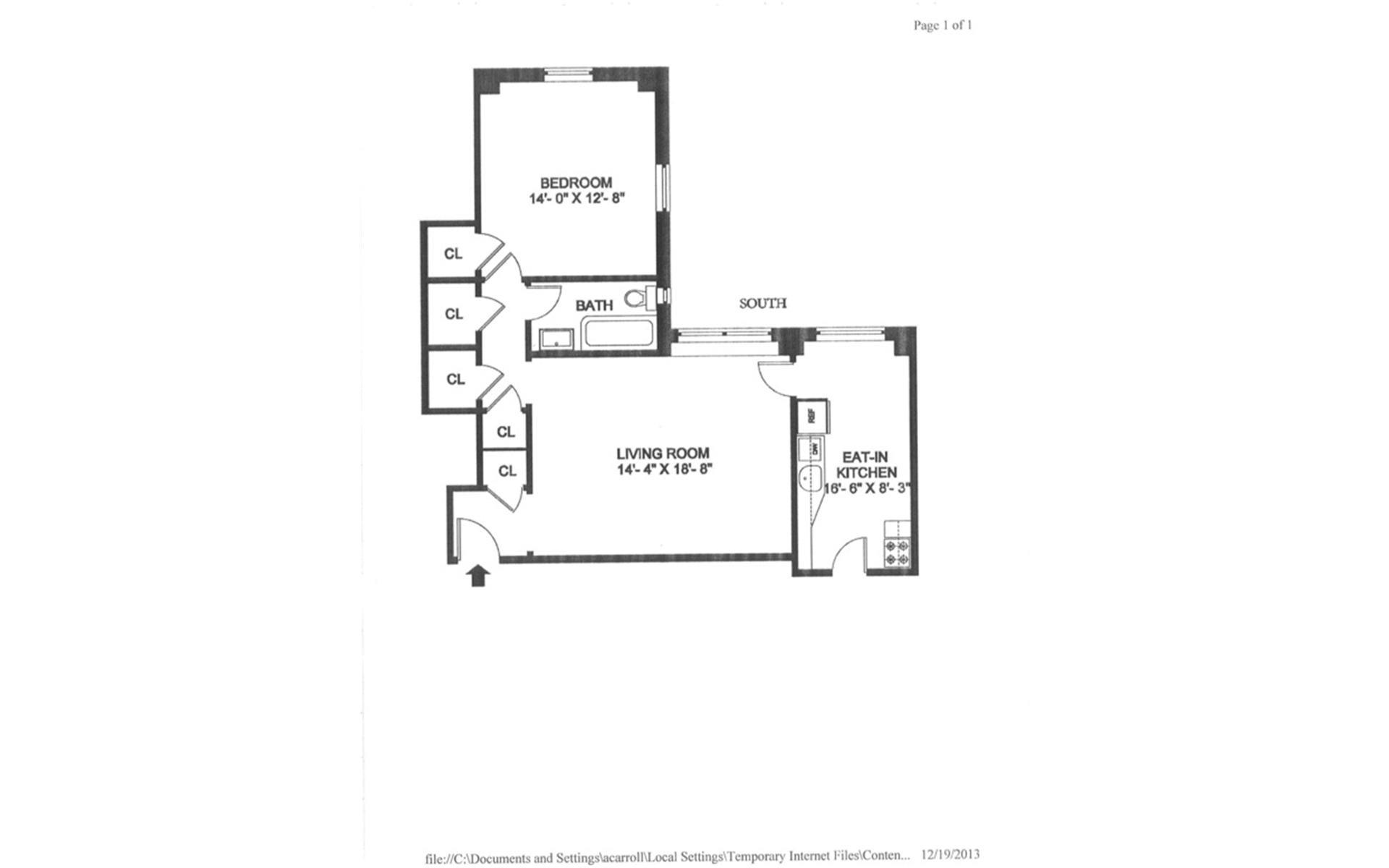Floor plan of 395 Riverside Drive, 2D - Upper West Side, New York