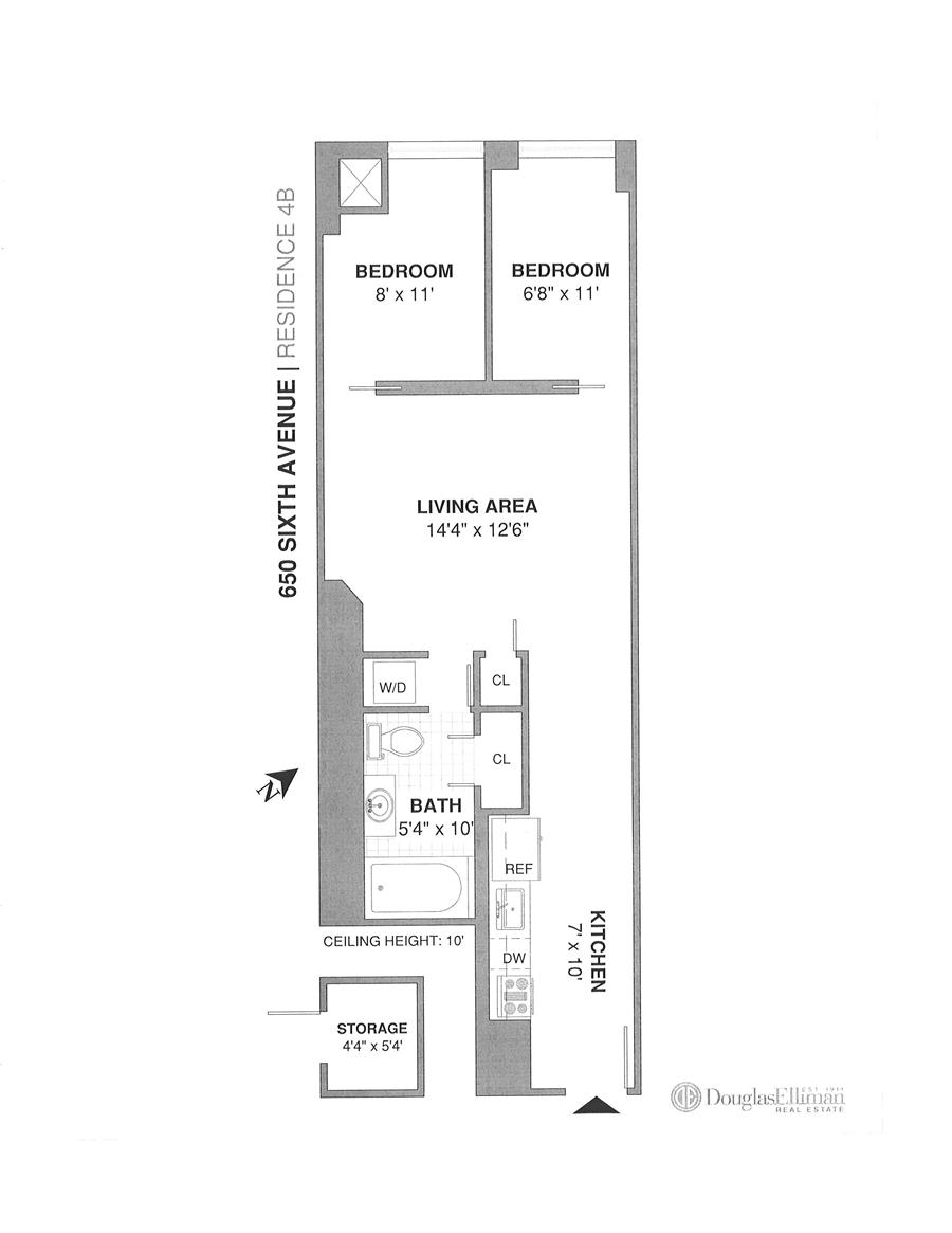 Floor plan of The Cammeyer, 650 Sixth Avenue, 4B - Flatiron District, New York