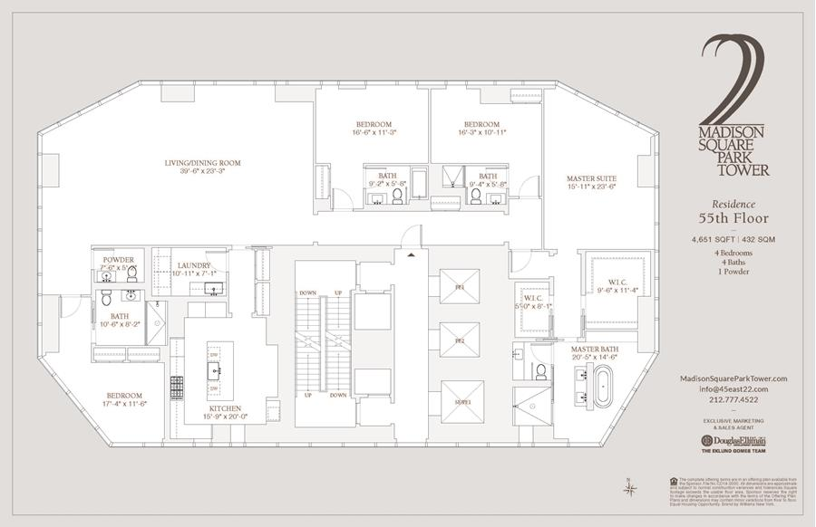 Floor plan of Madison Square Park Tower, 45 East 22nd St, 55FL - Flatiron District, New York
