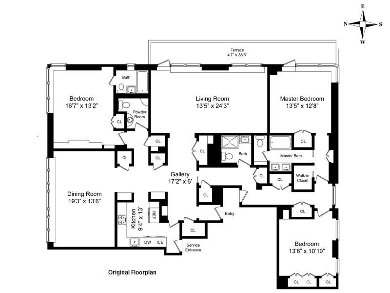 Floor plan of 715 Park Avenue, 15DE - Upper East Side, New York