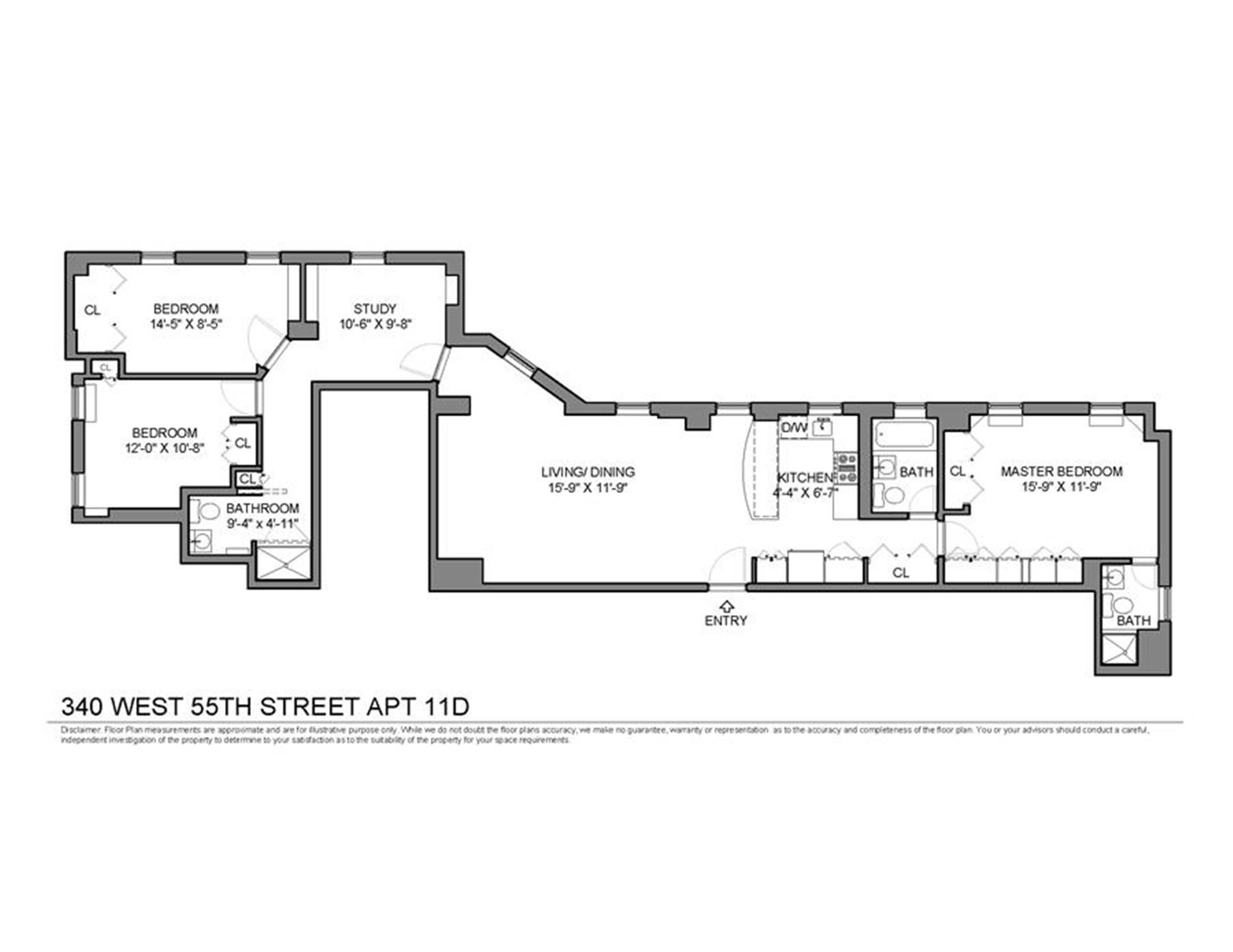 Floor plan of 340 West 55th St, 11DC - Clinton, New York