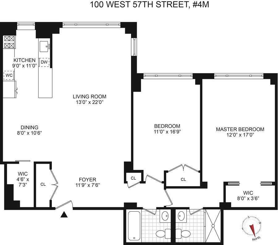 Floor plan of CARNEGIE HOUSE, 100 West 57th St, 4M - Midtown, New York