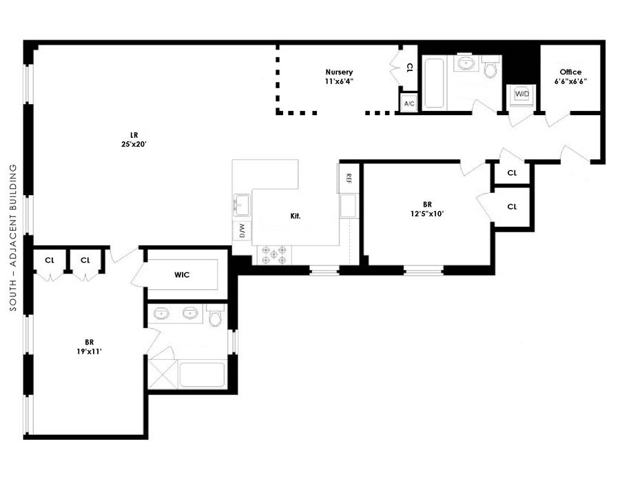 Floor plan of 426 West 58th St, 2A - Lincoln Square, New York