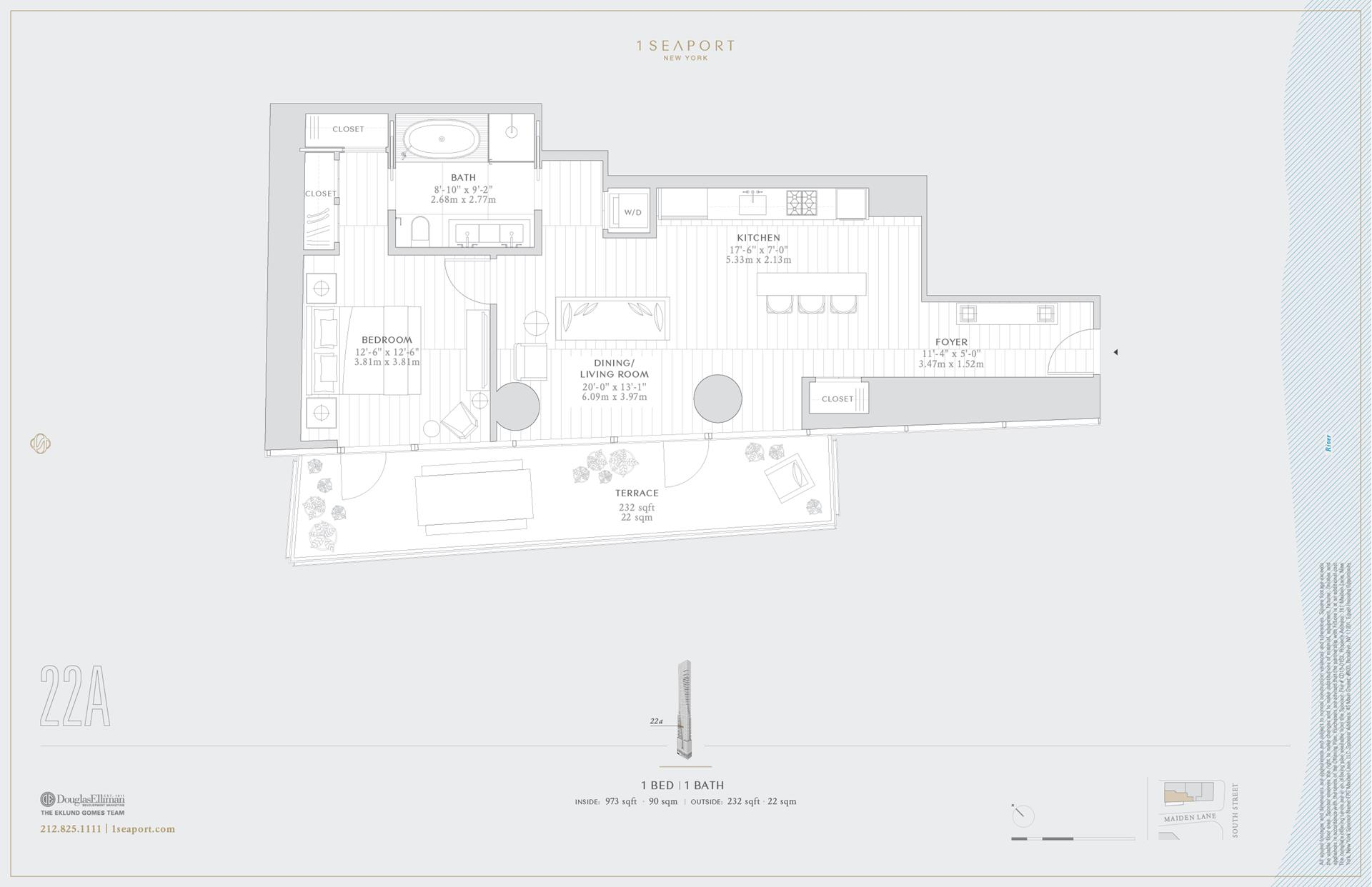 Floor plan of 1 Seaport, 161 Maiden Ln, 22A - Financial District, New York