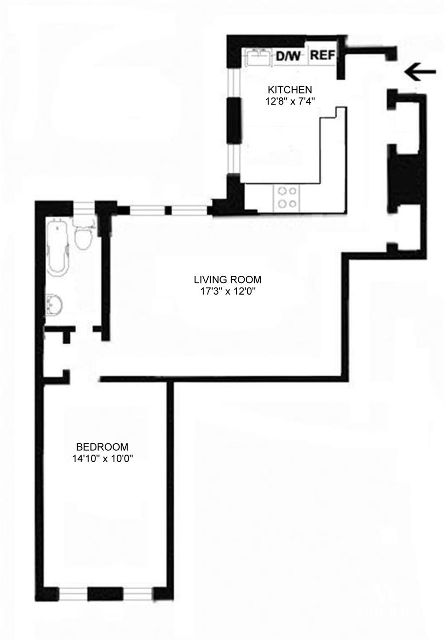 Floor plan of 333 East 80th St, 3B - Upper East Side, New York