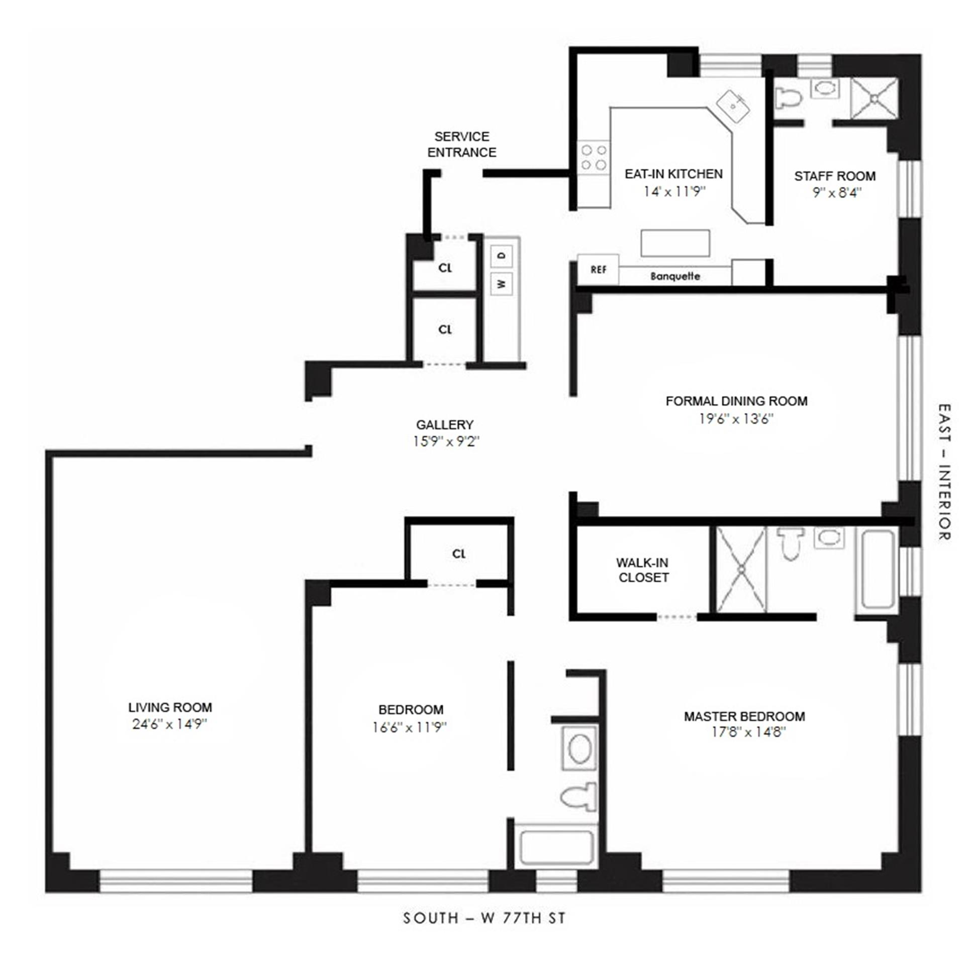 Floor plan of 50 Riverside Drive, 5D - Upper West Side, New York