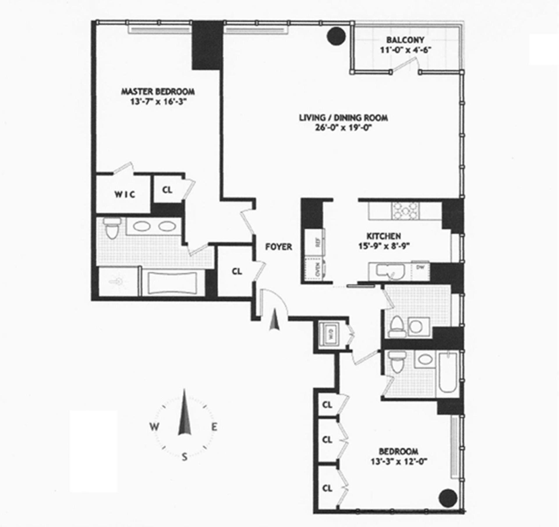 Floor plan of The Three Ten, 310 East 53rd St, 23ABC - Sutton Area, New York