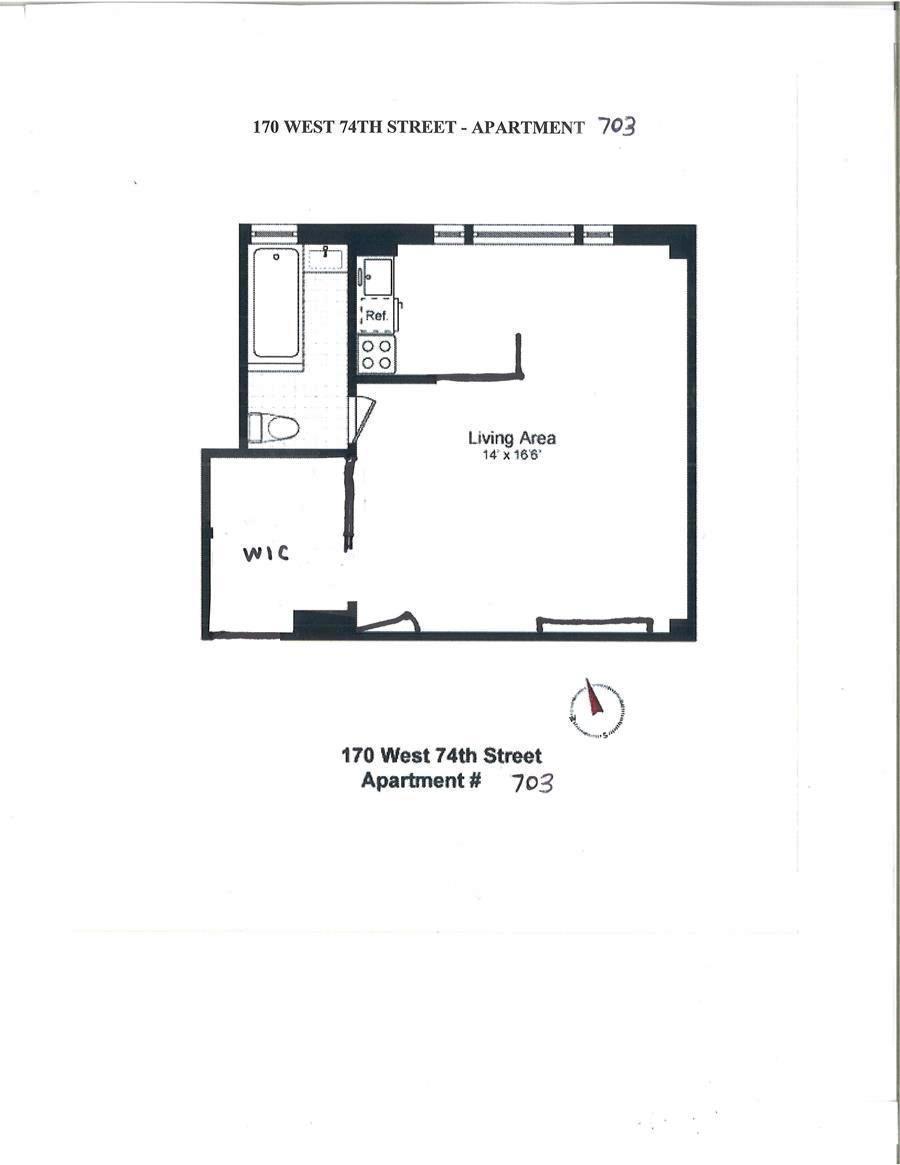 Floor plan of Berkley, 170 West 74th St, 703/3 - Upper West Side, New York