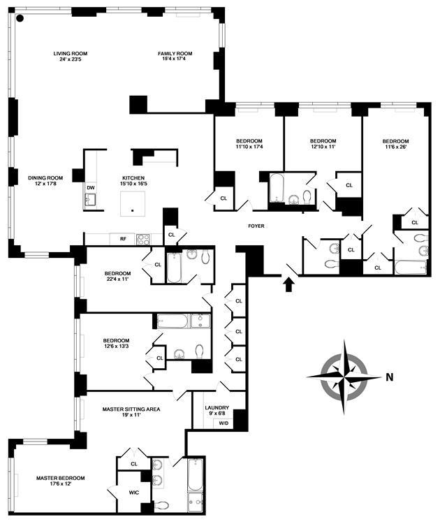 Floor plan of THE SEVILLE, 300 East 77th Street, 4BC - Upper East Side, New York