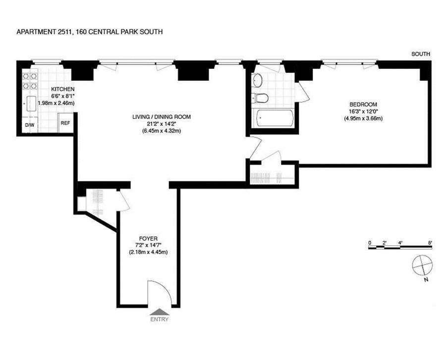 Floor plan of Essex House, 160 Central Park South, 2511 - Central Park South, New York