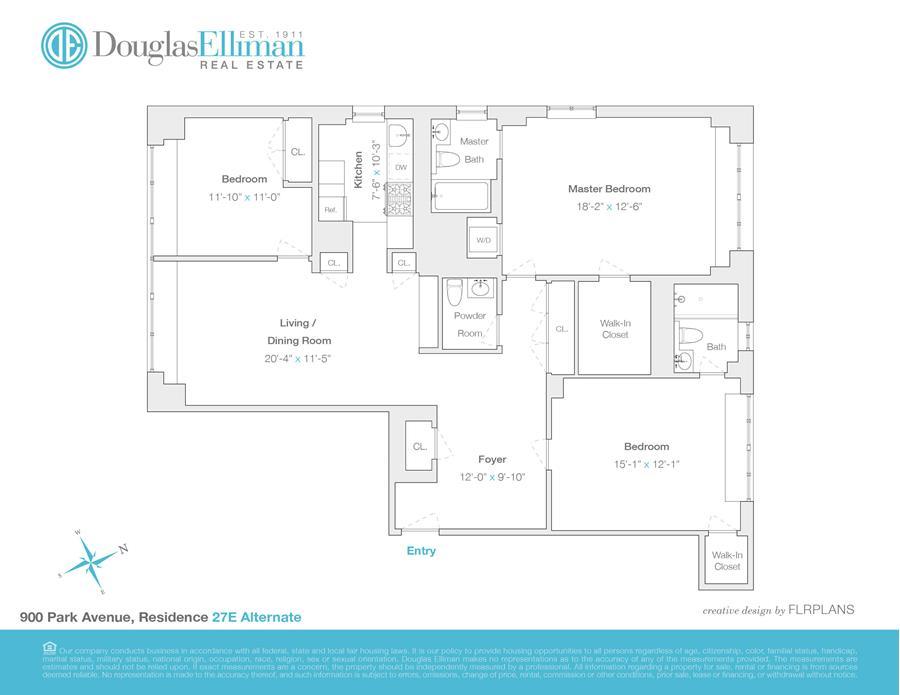 Floor plan of The Park 900 Condominium, 900 Park Avenue, 27E - Upper East Side, New York