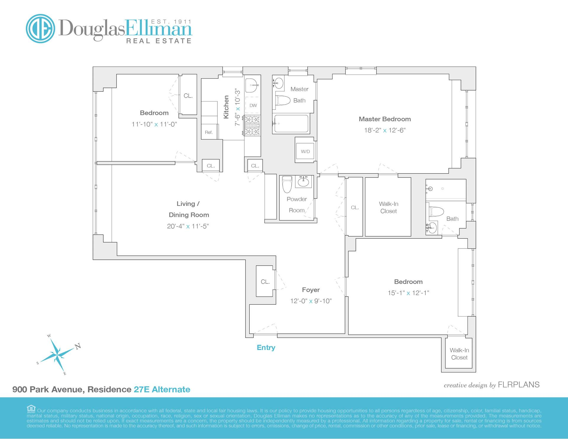 Floor plan of The Park 900 Condominium, 900 Park Avenue, 27E - Upper East Side, New York
