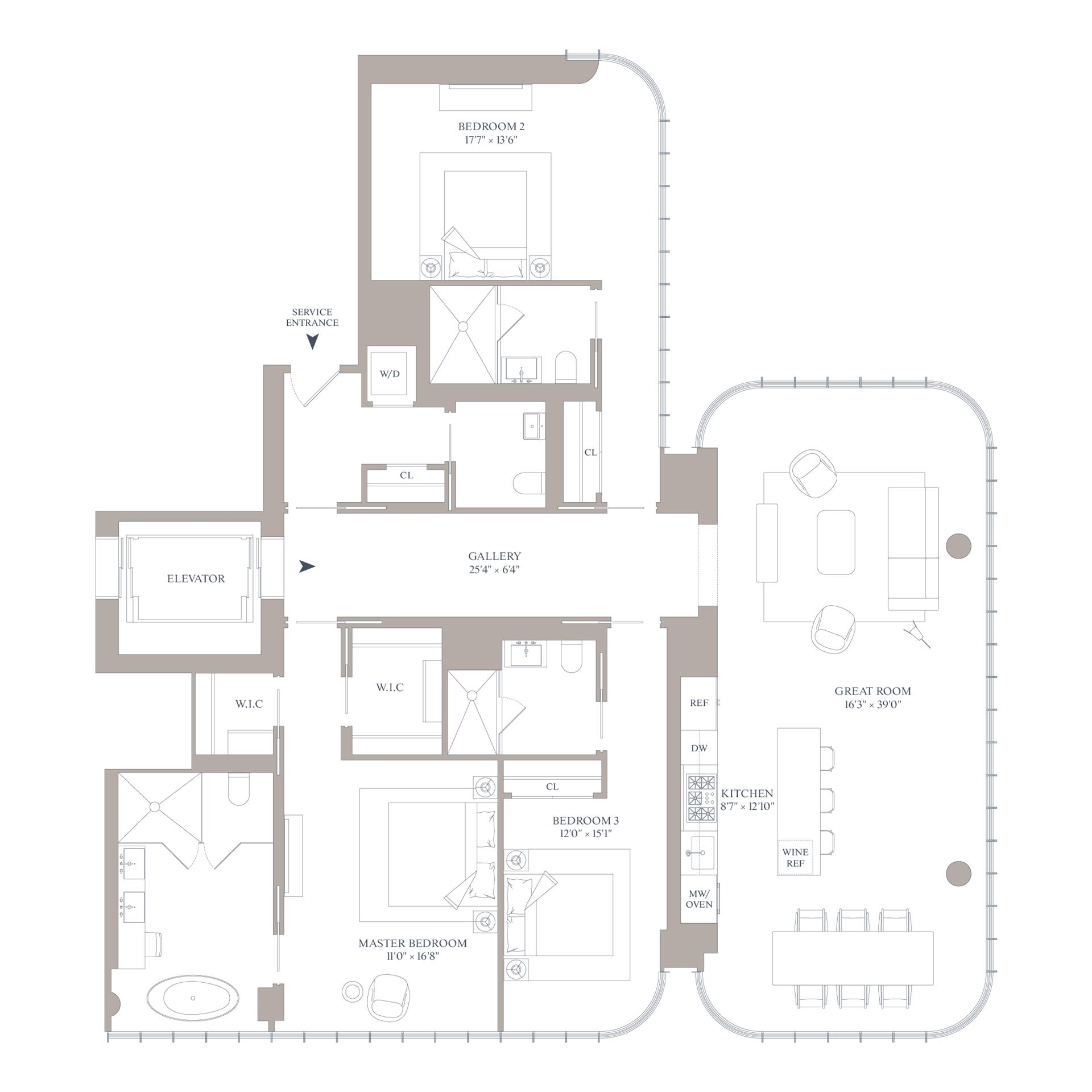 Floor plan of 565 Broome St, S19B - SoHo - Nolita, New York