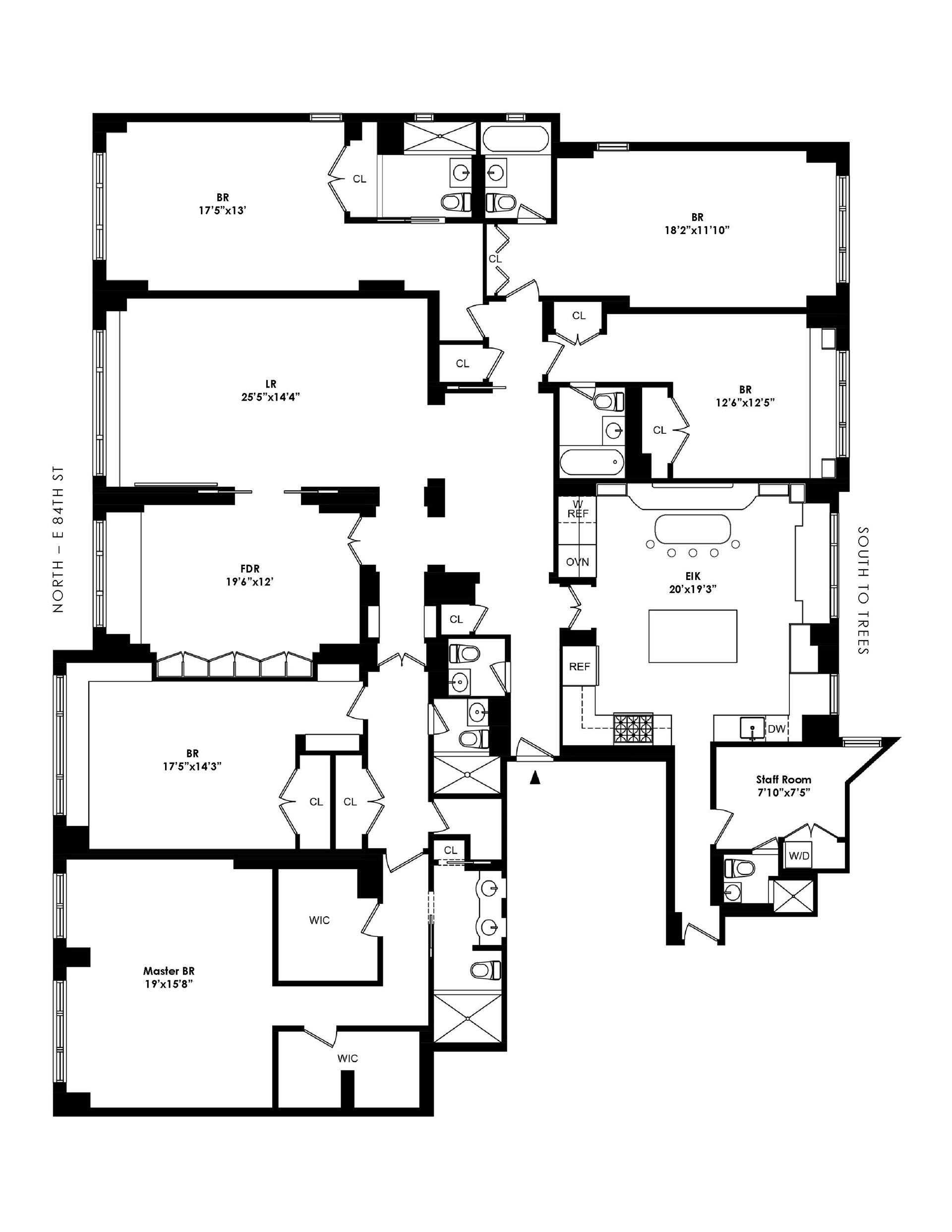 Floor plan of 40 East 84th St, 4CD - Upper East Side, New York