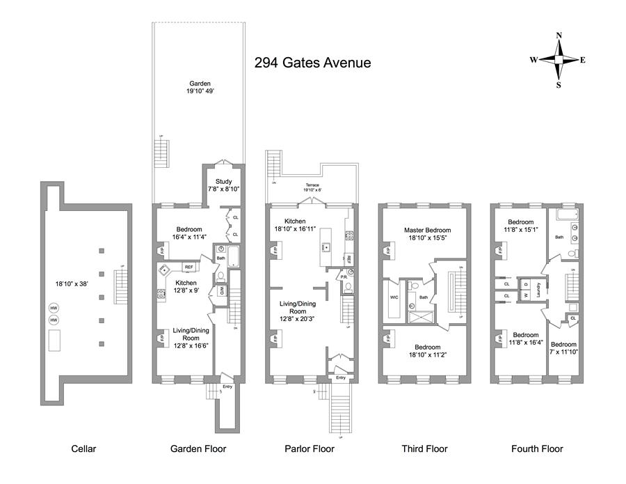 Floor plan of 294 Gates Avenue - Bedford - Stuyvesant, New York