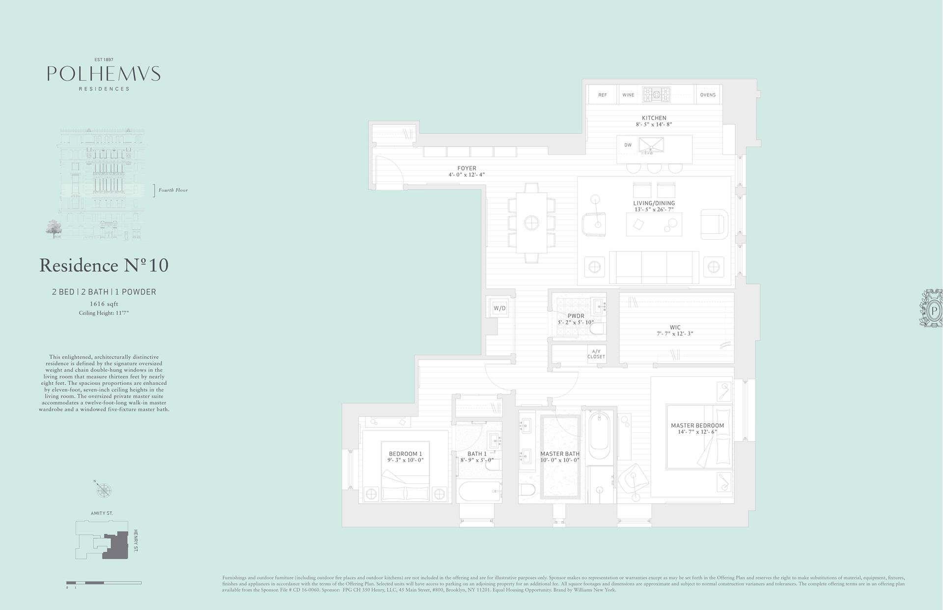 Floor plan of Polhemus, 100 Amity St, RES10 - Cobble Hill, New York