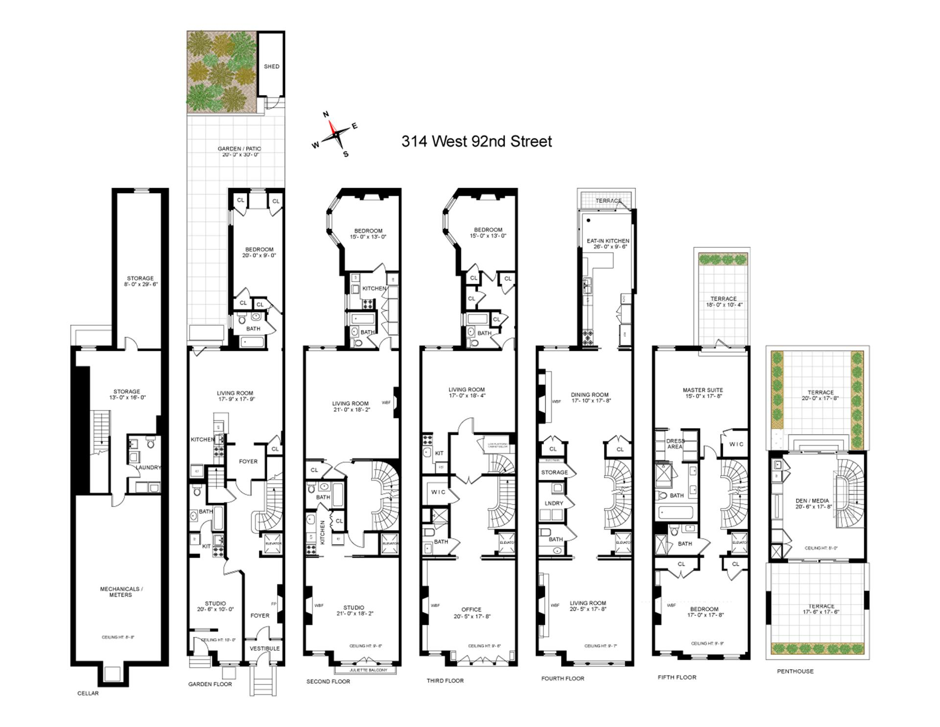 Floor plan of 314 West 92nd St - Upper West Side, New York