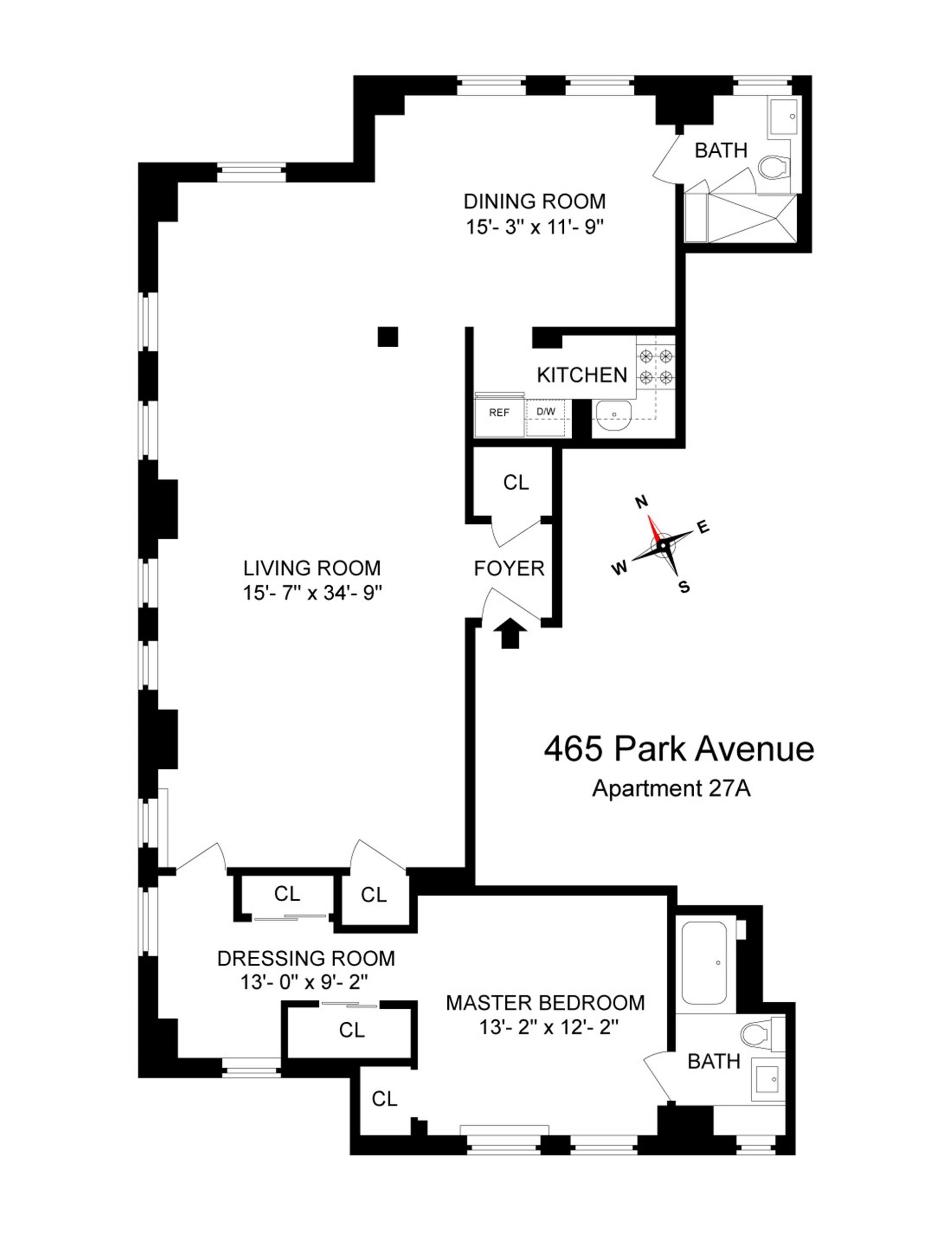 Floor plan of 465 Park Avenue, 27A - Midtown, New York
