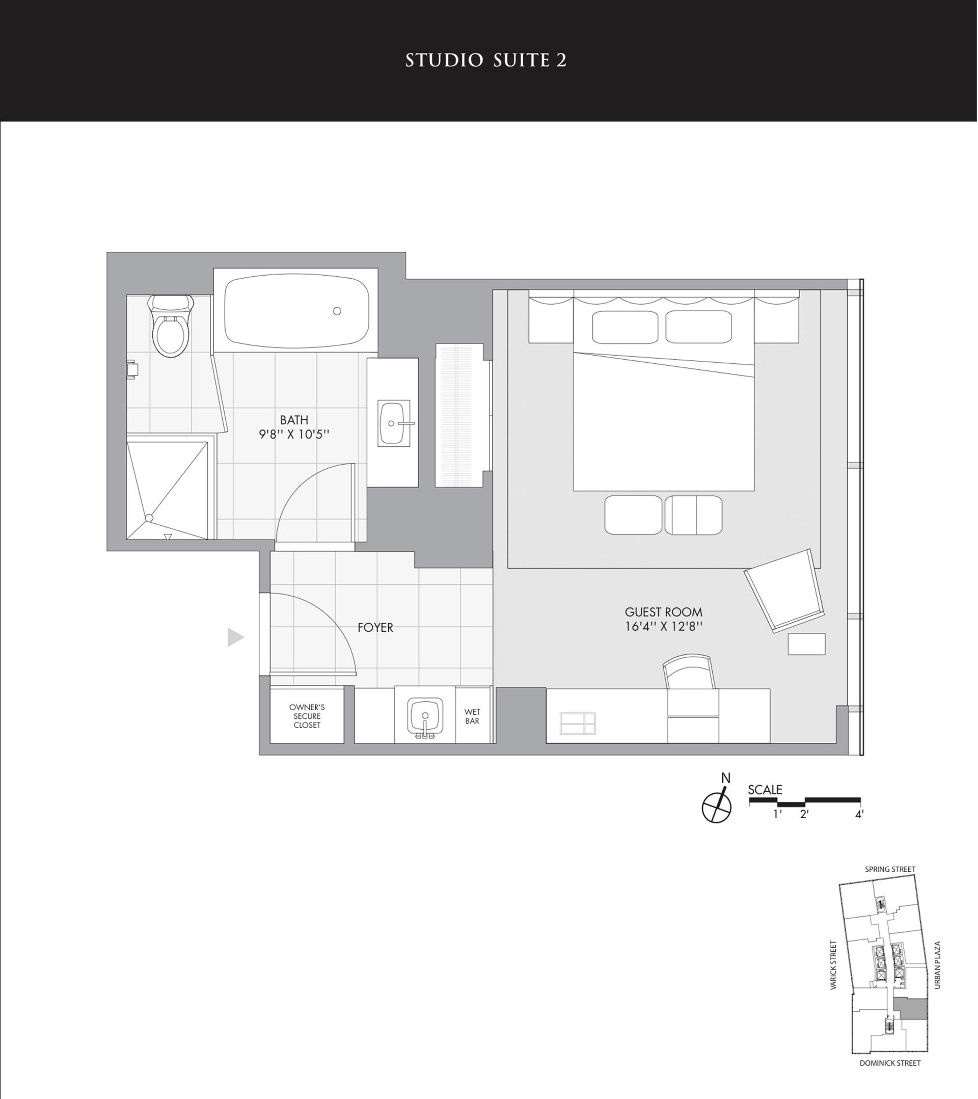 Floor plan of The Dominick Hotel, 246 Spring St, 1402 - SoHo - Nolita, New York