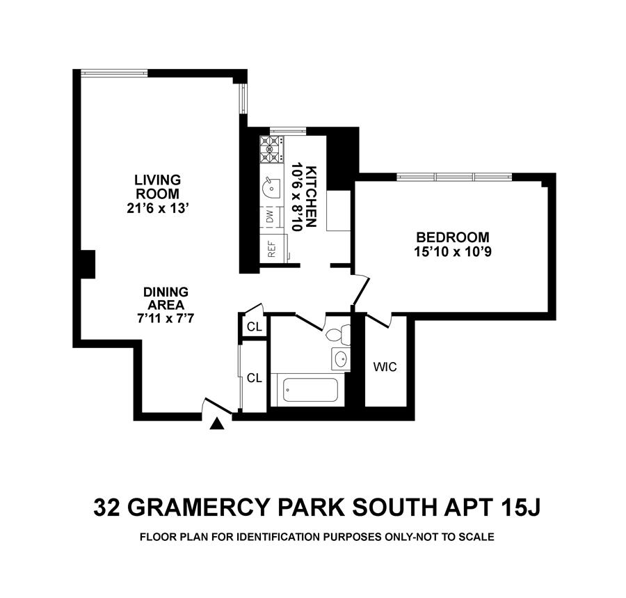 Floor plan of 32 Gramercy Park South, 15J - Gramercy - Union Square, New York