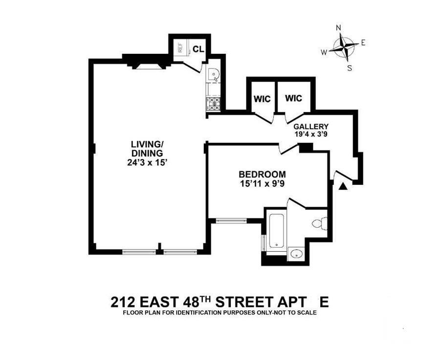 Floor plan of 212 East 48th St, 8E - Turtle Bay, New York