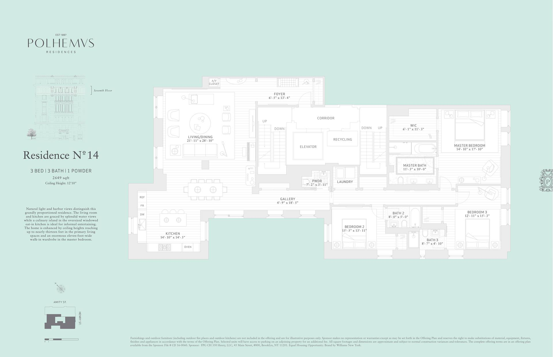 Floor plan of Polhemus, 100 Amity St, RES14 - Cobble Hill, New York