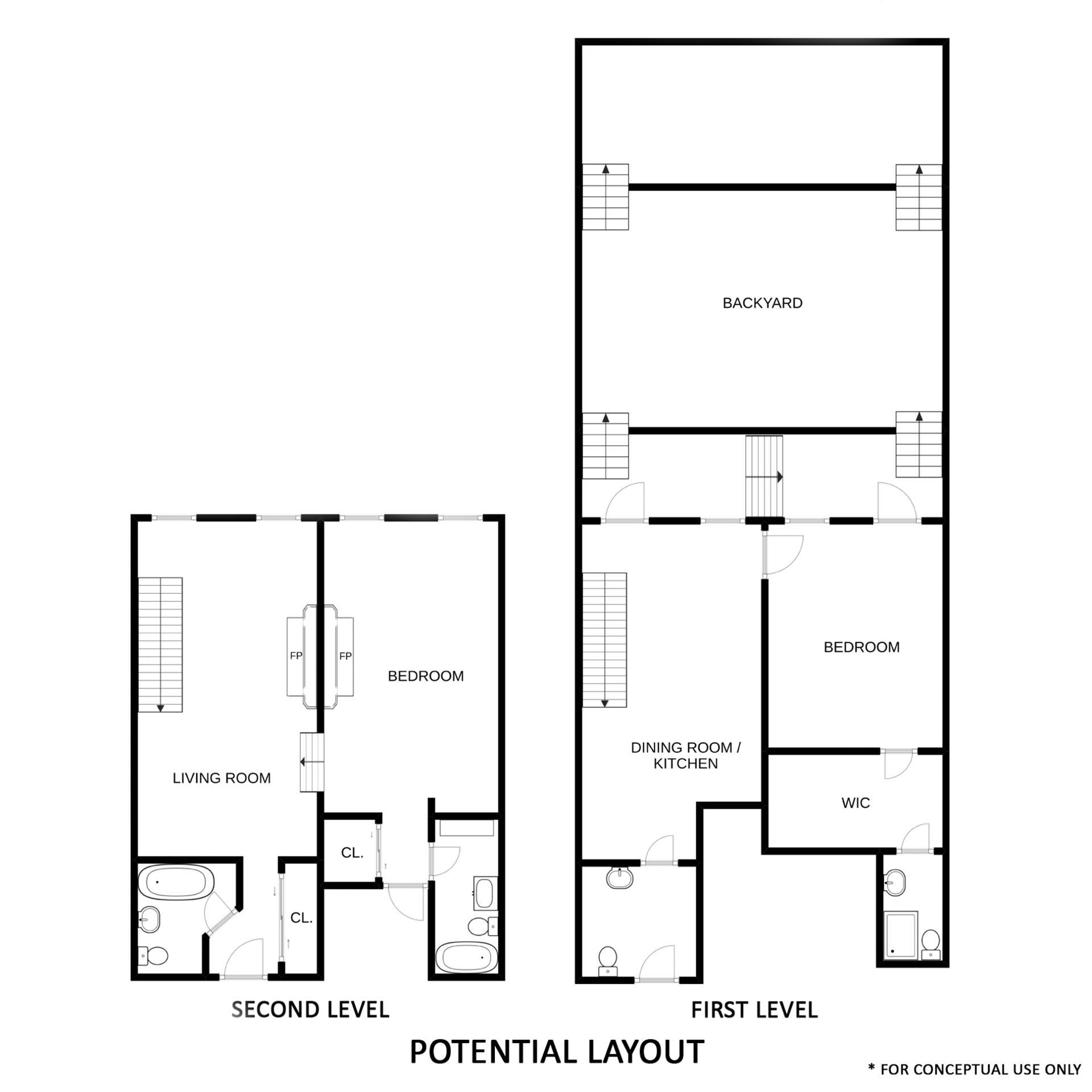 Floor plan of The Fireside, 226 East 95th St, 105/106 - Upper East Side, New York