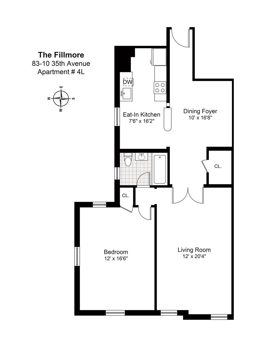 Floor plan of 83-10 35th Avenue, 4L - Jackson Heights, New York