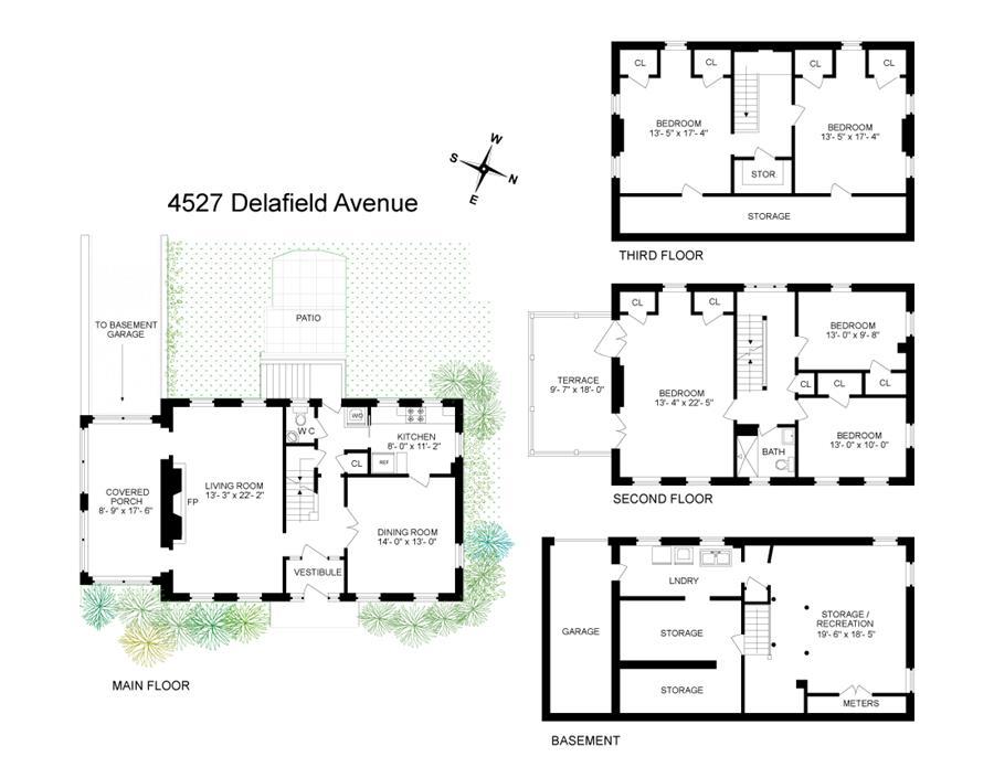 Floor plan of 4527 Delafield Avenue - Fieldston, New York