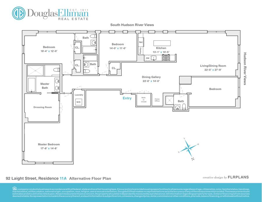 Floor plan of RIVER LOFTS, 92 Laight St, 11A - TriBeCa, New York