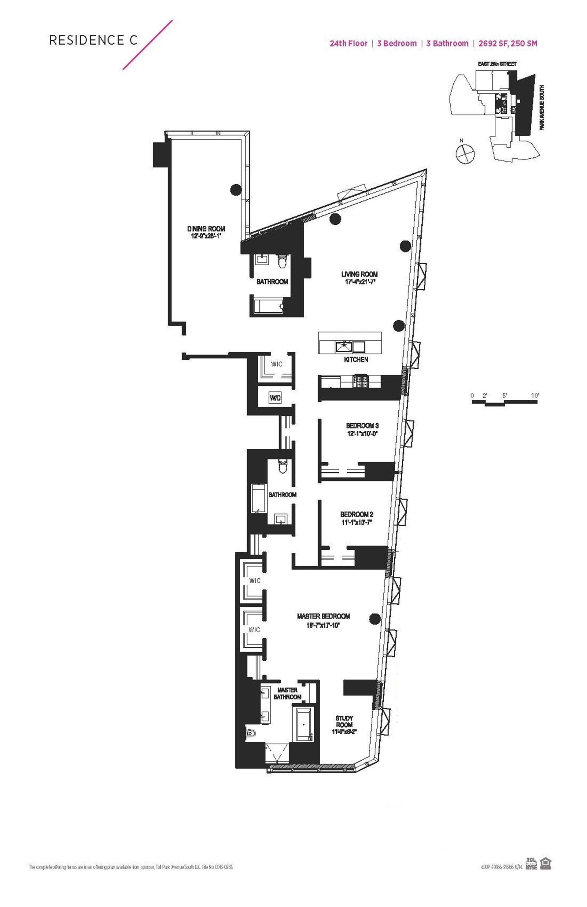 Floor plan of 400 Park Avenue South, 24C - Midtown, New York