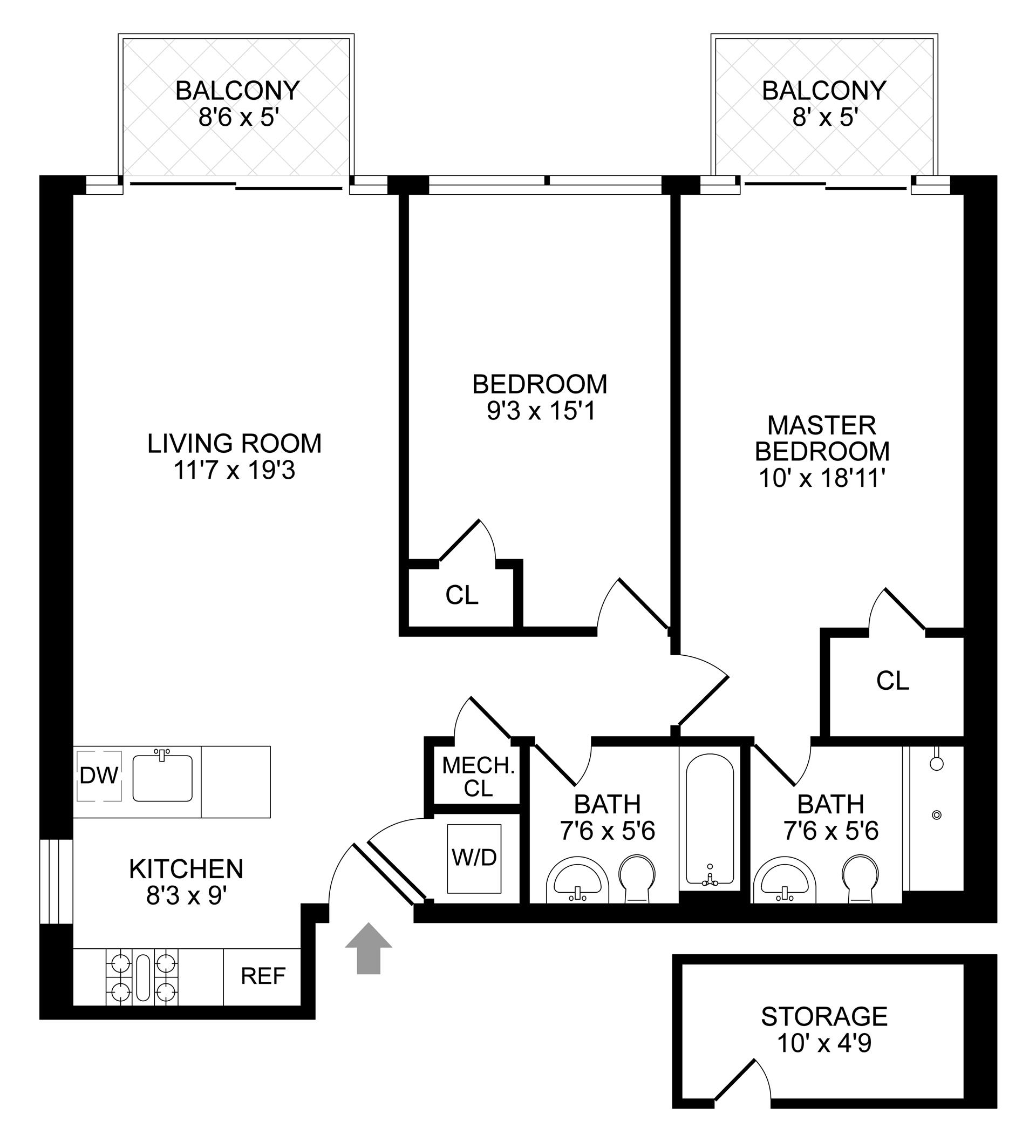 Floor plan of 854 Putnam Avenue, 3B - Stuyvesant Heights, New York