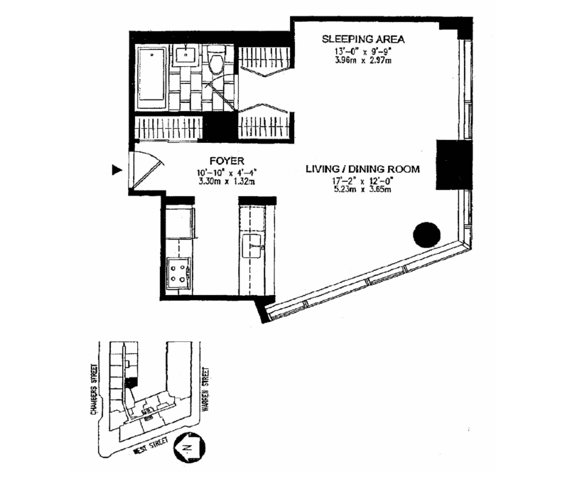 Floor plan of 200 Chambers St, 5T - TriBeCa, New York