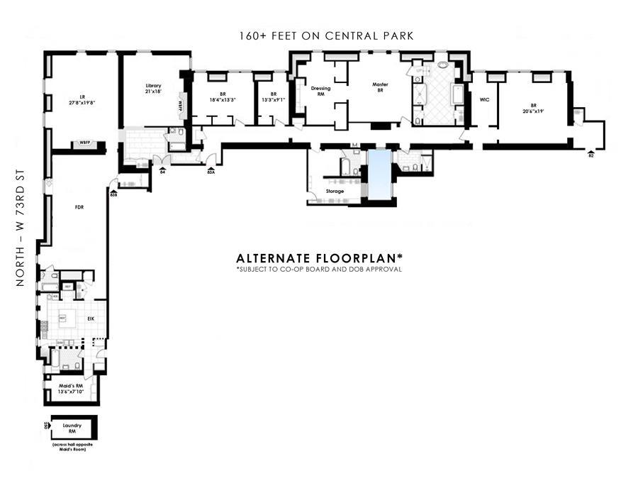 Floor plan of The Dakota, 1 West 72nd St, 828384 - Upper West Side, New York