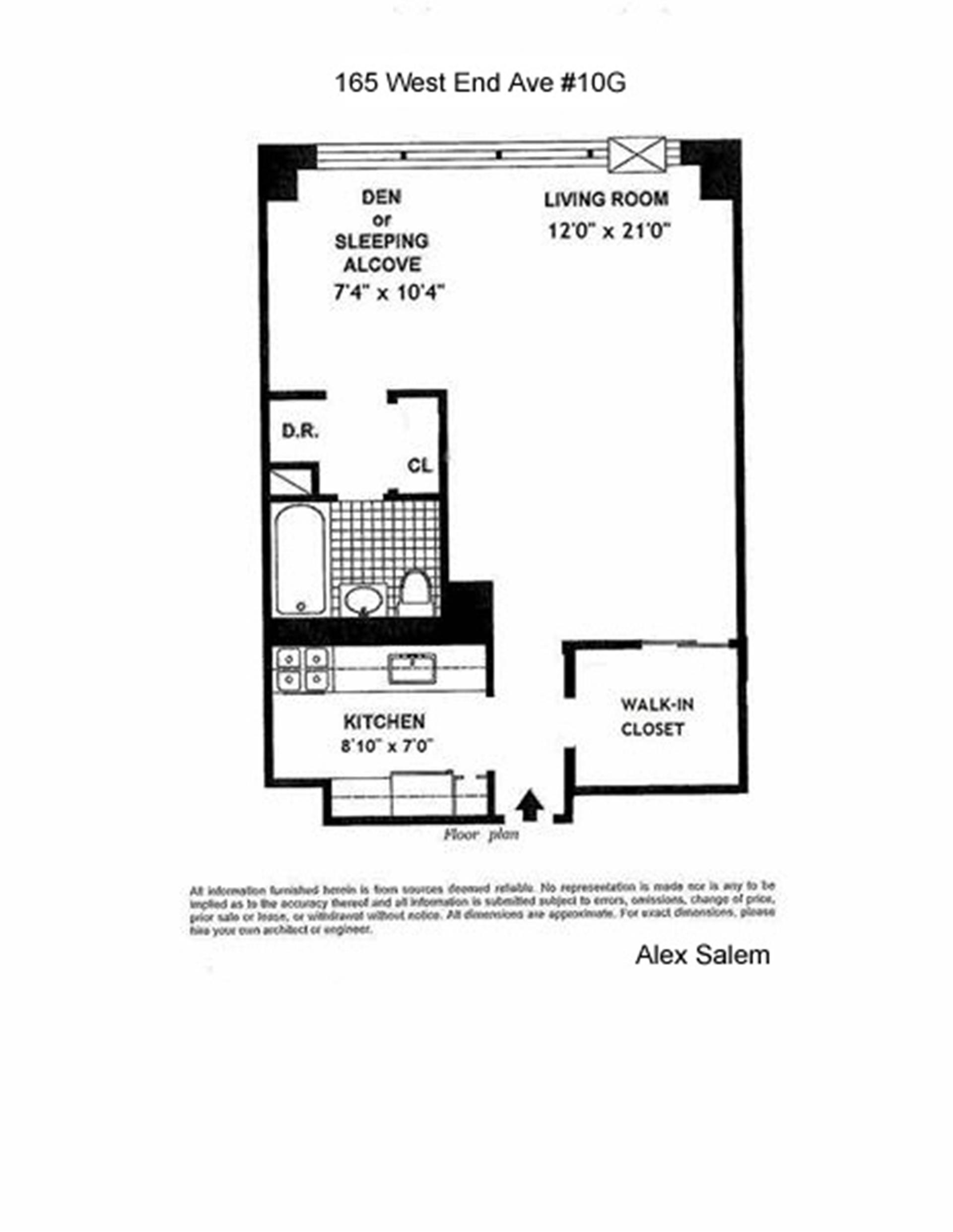 Floor plan of LINCOLN TOWERS, 165 West End Avenue, 10G - Upper West Side, New York